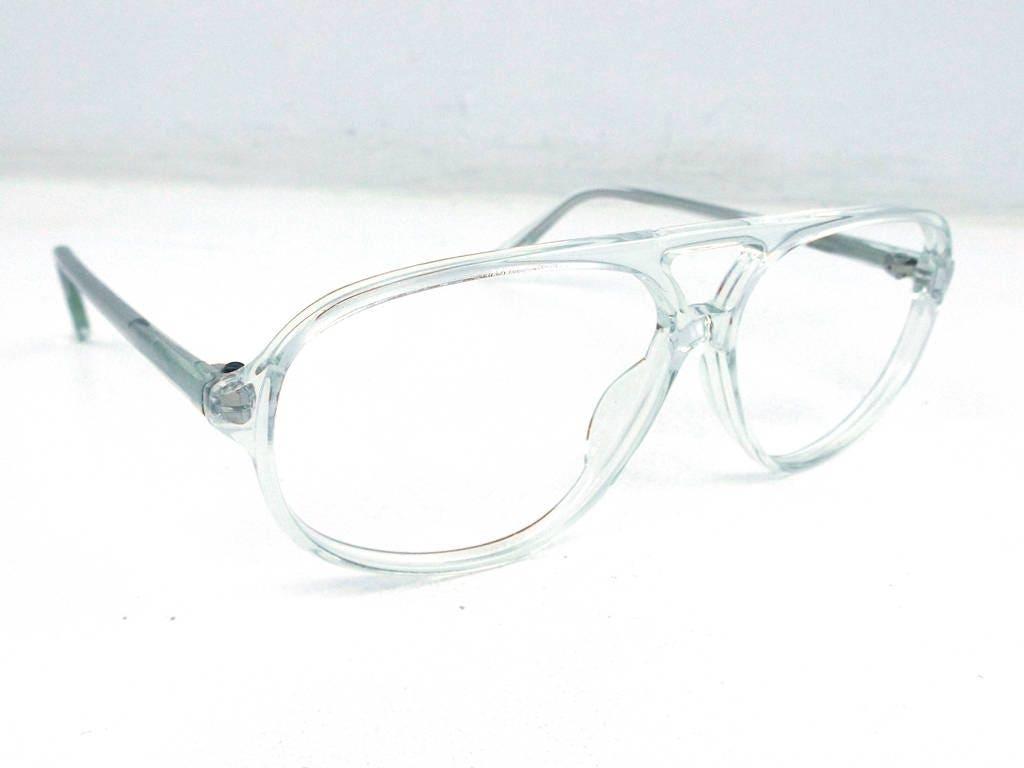 vintage 80s crystal clear plastic eyeglasses oversize frames 1980s ...