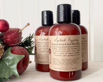 Spiked Eggnog Body Lotion - Coconut Milk & Aloe Body Lotion with Cocoa Butter, Holiday Lotion, Christmas Lotion, Stocking Stuffer