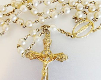ON SALE Pretty Vintage 1960's Gold Tone Faux Pearl Rosary Italy