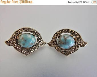 ON SALE Pretty Vintage Faux Turquoise Earrings