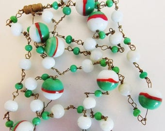 ON SALE Pretty Vintage 1960's Green Red and White Art Glass Bead Necklace