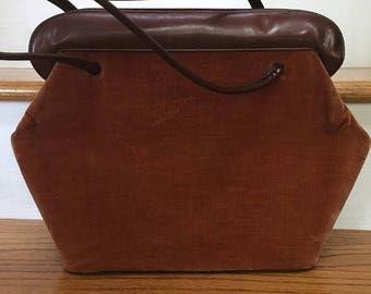 Kadin Mid Century Handbag/ Brown Velvet and Patent / Mod Top Handle Retro Bag/ Made in USA/