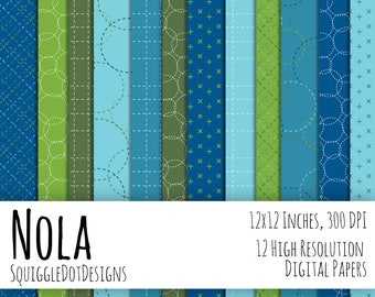Digital Printable Background Paper for Web Design, Crafts, and Scrapbooking Set of 12 - Nola - in Blue, White, Green
