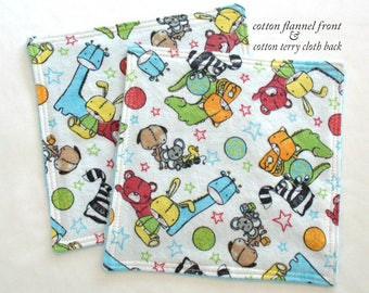 Baby Washcloths, Toddler Washcloths, Cotton Flannel and Terry Cloth Child Washcloths, Boy or Girl