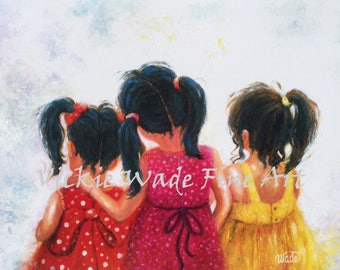 Three Sisters Art Print, three girls, three girlfriends, three daughters wall art, sister paintings, mother's day gift, Vickie Wade art