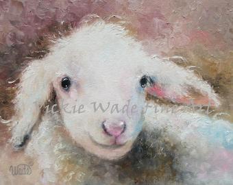 Nursery Baby Lamb ORIGINAL Painting, nursery decor, nursery wall art, baby nursery prints, baby sheep childrens wall art, Vickie Wade Art