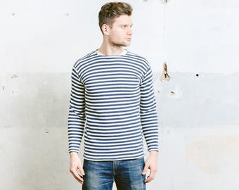 Vintage Sailor Sweatshirt . Striped 80s Men's Nautical Sweater Retro Navy Blue Long Sleeve Shirt White Blue Hipster Outfit . size Small S