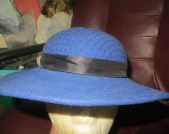 vintage womens Lady Stetson perwinkle blue all  wool wide brim PANCAKE  style    chuch hat with black netting at top