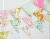 Fabric Bunting Flags, Garland Banner for Girls Room, Pink Mint Nursery Decor, Floral Baby Shower Decorations, Bridal Shower Backdrop Flower