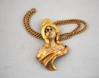 1970s Razza Virgo Zodiac Pendant Necklace - Razza Pendant Necklace - Woman Virgin Greco Roman Figural Novelty Goddess