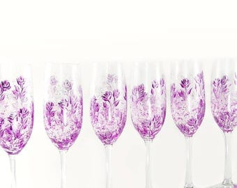 6 Hand-Painted Violet Purple and Silver Bridesmaid Champagne Flutes - French Violet Magenta Roses - Custom Bachelorette Gift