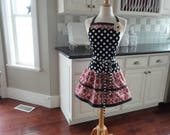 """Pretty Vintage Cranberry Apron ~ READY TO SHIP - Mother's Day Gift    """"Ellie Style""""   Women's Apron""""   4RetroSisters"""