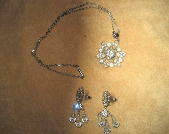 Rhinestone Necklace & Earring Set 50s 60s Vintage