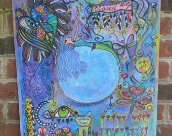 Cloud 9, Energy Art, Peace Love Art, Hippie Art, Abstract, Symbolism, Feng Shui, Prosperity, Positive Energy, Boho Home, Barefoot Home