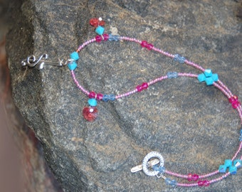"""Music Note Charm Necklace, Treble Clef Charm Necklace, Beaded Music Note Necklace, """"The Elated Voice"""""""