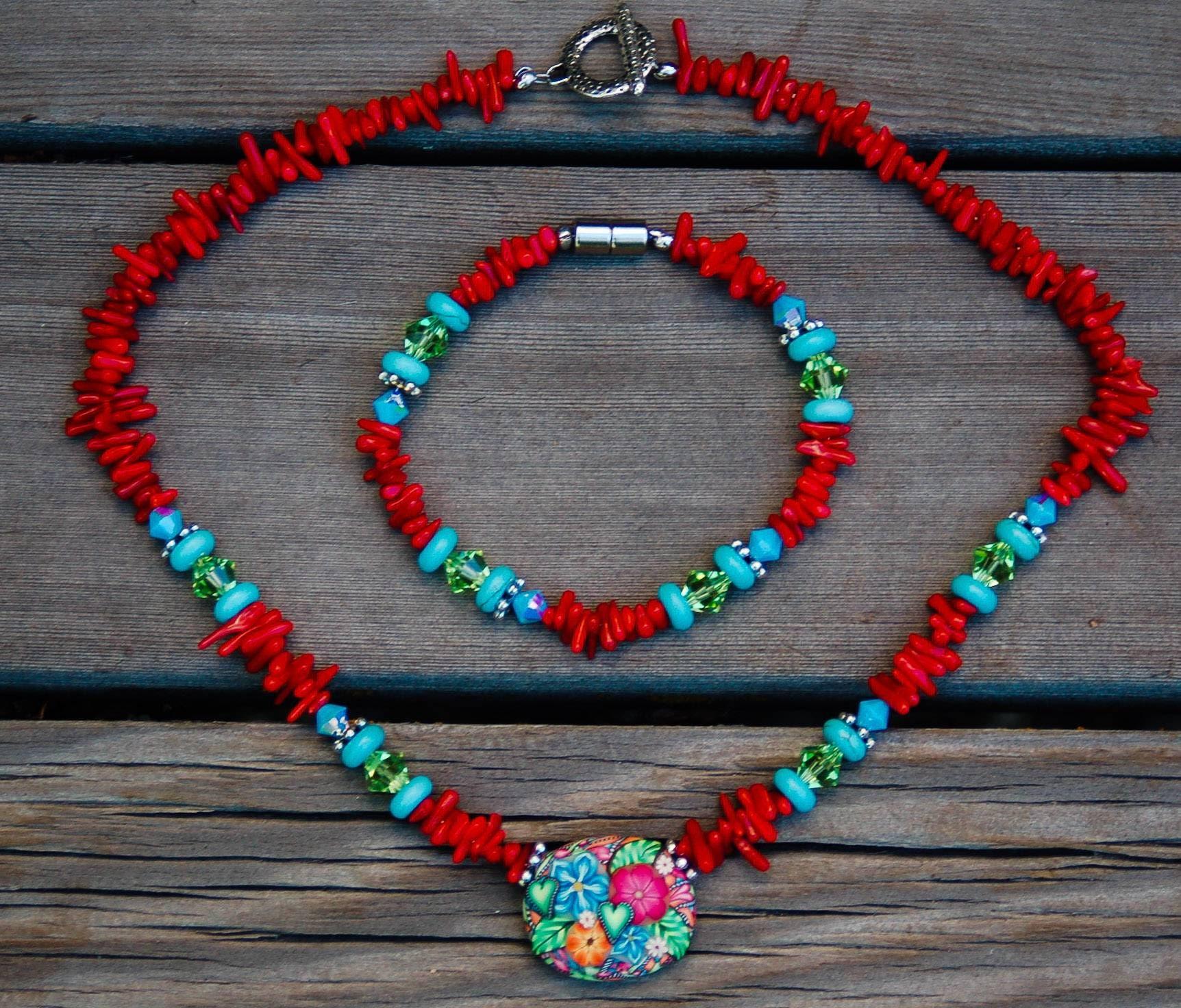 Necklace and Bracelet Set Coral Swarovski and Czech Crystal