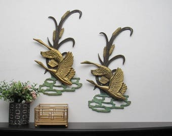 wall hangings - brass and steel Geese - set of 2