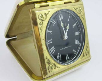 Rare Vintage Westclox Travel Alarm Clock Made In Germany White Case Works Great!