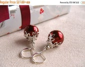 ON SALE Red Christmas Earrings, Christmas Earrings, Christmas Ornament Earrings, Holiday Earrings, Red and Silver, Cocktail Party
