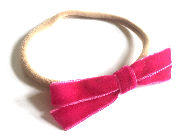 Hot Pink Bow - Velvet Bow Headband - Baby Headband - Newborn Headband -  Fuschia Bright e253ab45785