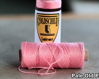Pale Old Pink Goldschild linen thread, 3-ply, Nel 18/3, 0.65mm thick, non-waxed, 1 spool 25g 90m