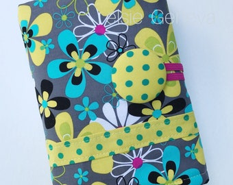 Black Aqua Pink Floral Dots Stripes Crochet Hook Organizer or Make Up Case with Zipper Pocket