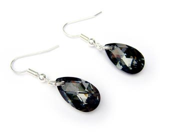 Swarovski Black Pear Earrings, Perfect Holiday Earrings, Sparkly Earrings, Teardrop Earrings, Everyday Earrings
