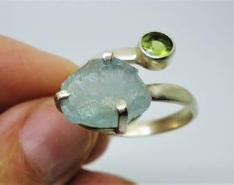 Aquamarine Ring Raw Aquamarine Nugget Ring Rough Natural Freeform Genuine Aquamarine Twist Ring w Peridot in Solid Sterling Silver Size 10.5