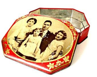Royal Family Tin, George VI Queen Elizabeth Tin, Riley's Toffee Tin, English Souvenir Tin, Halifax England Tin, Anglophile Tin, Tin Box