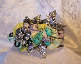 silver painted silk Cuff Bracelet turquoise, baroque