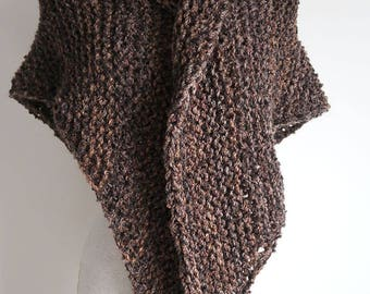Outlander Inspired Rustic Dark Brown Color Knitted Chunky Boucle Yarn Shawl Wrap Stole with Tassels