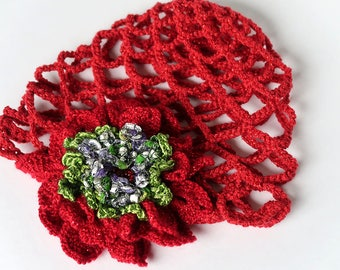 FREE US SHIPPING - Poinsettia Flower Red Green Color Crocheted Scull Cap Flapper Hat