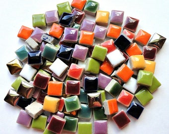 100 (10mm) MINI Mix Glazed Ceramic Tiles Mosaic Supplies//Mosaic Pieces//Crafts//Square Tiles