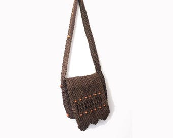 Heavy Woven Macrame Shoulder Messenger Bag - Wide Strap Hippie Bohemian Jute Purse