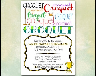 Croquet Invitation / Lawn Game, Garden Party / Typography, Subway Art / Mallet Wicket Balls Trophy / 5x7 DIY Self Print / Backyard Invite
