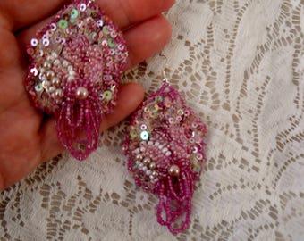 boho pink beaded lace earrings, beaded wedding earrings, fairytale beaded lace earrings, beaded bridal earrings