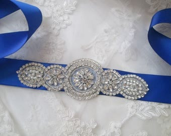 Royal Blue Bridal Sash, Royal Blue Satin Sash Belt, Something Blue Wedding Dress Belt, Crystal & Pearl Bridal Belt, Rhinestone- Diamond Sash