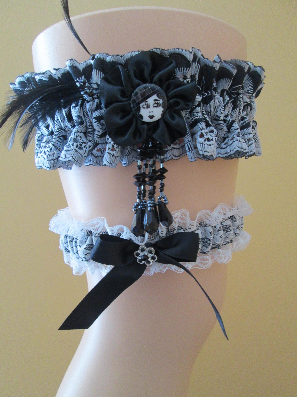Gothic Lolita Wedding Garter Set Halloween Zombie Bridal