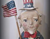 Uncle Sam   - papier mache- folk art- handmade art doll- folk art-Americana