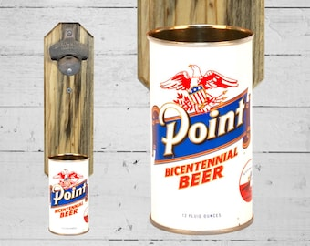 Craft Beer Gift Point Wall Mounted Bottle Opener with Vintage Bicentennial Beer Can Cap Catcher - Great Gift for Guys