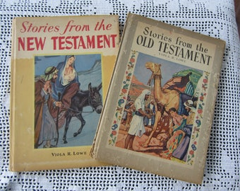 Vintage 1944 Children's Religious Books Stories from the Old Testament Stories from the New Testament Set of 2 Color Illustrations
