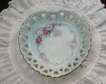 Green Heart Plate with Pretty Pink Roses, Hand Painted, Shabby Chic, Cut-out Hearts, Gold Rim