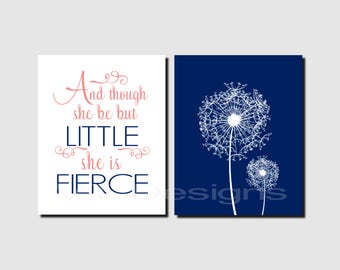 And though she be but little, Baby Nursery Art, Coral, Navy, Girl Nursery Art, Dandelions, Toddlers Room Decor, Set of 2, Prints or Canvas