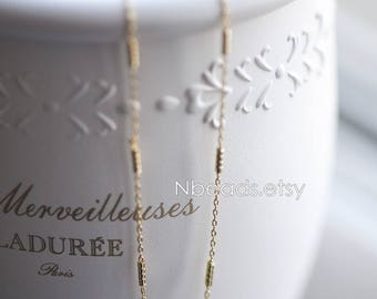 Gold plated Brass Chains, Real Gold Designer Chain, 1.3mm Thin Decorative Chains (#GB-127)/ 1 Meter=3.3 ft