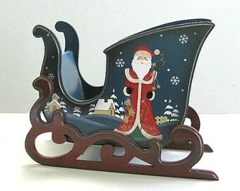 Christmas Sleigh Christmas Card Holder Vintage Sleigh Painted Santa Sleigh Santa Claus Sleigh Christmas Table Display Xmas Christmas in July