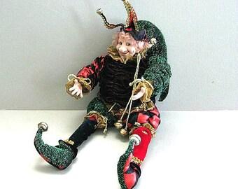 Jester Art Doll Collectible Clown Doll Circus Doll Mardi Gras Renaissance Medieval Doll Harlequin Joker Carnival Clown Harley Quinn Venetian