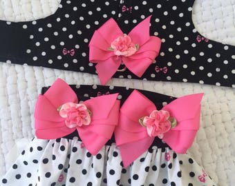 Polka Dot   Dog   Harness with skirt or can exchange for diaper  for Girl Dog Custom Made