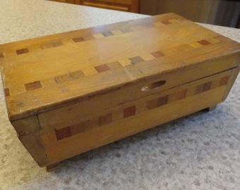 Vintage Marquetry Storage Jewelry Box
