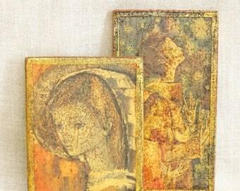 Vintage Religious Art, Male Portrait, Wooden Panel, Pair, Set, Gold Leaf, Wall Decor, Religion, Altar, Images of Men, Plaque