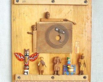 Wil Shepherd Studio Folk Art Assemblage Wall Sculpture, Male Portrait, Female Portraiture, Found Object, Primitive,Musical,Original Fine Art
